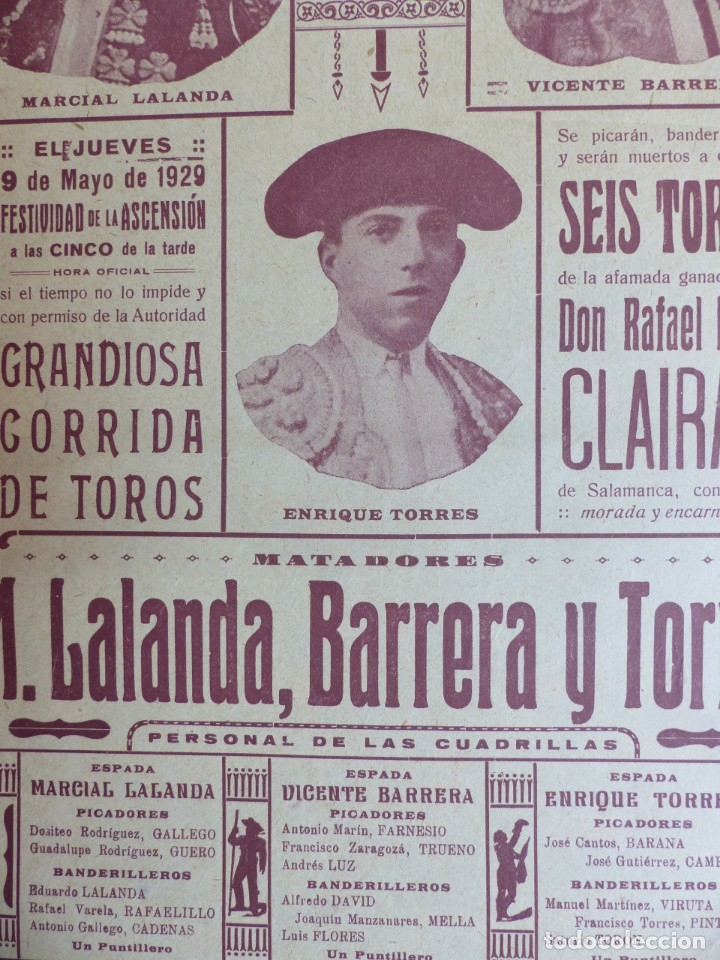 Carteles Toros: CARTEL TOROS - VALENCIA - MAYO DE 1929 - MARCIAL LALANDA, VICENTE BARRERA Y ENRIQUE TORRES - Foto 6 - 172171354