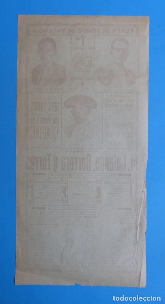 Carteles Toros: CARTEL TOROS - VALENCIA - MAYO DE 1929 - MARCIAL LALANDA, VICENTE BARRERA Y ENRIQUE TORRES - Foto 7 - 172171354