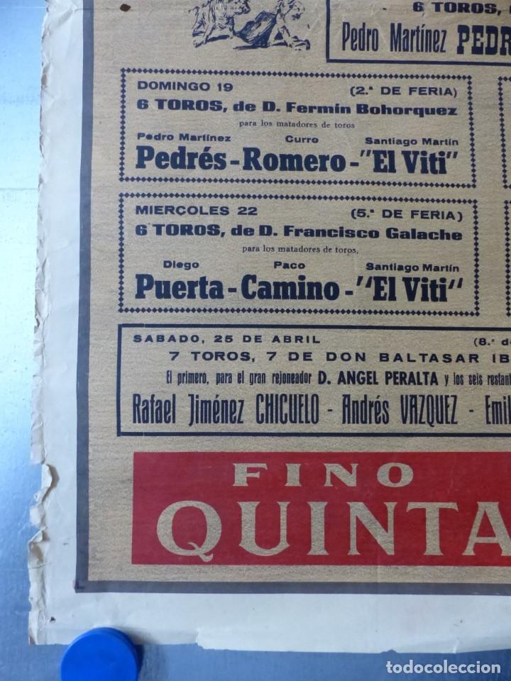 Carteles Toros: CARTEL TOROS - SEVILLA, FERIA ABRIL, AÑO 1964 - J. REUS - Foto 2 - 172220702