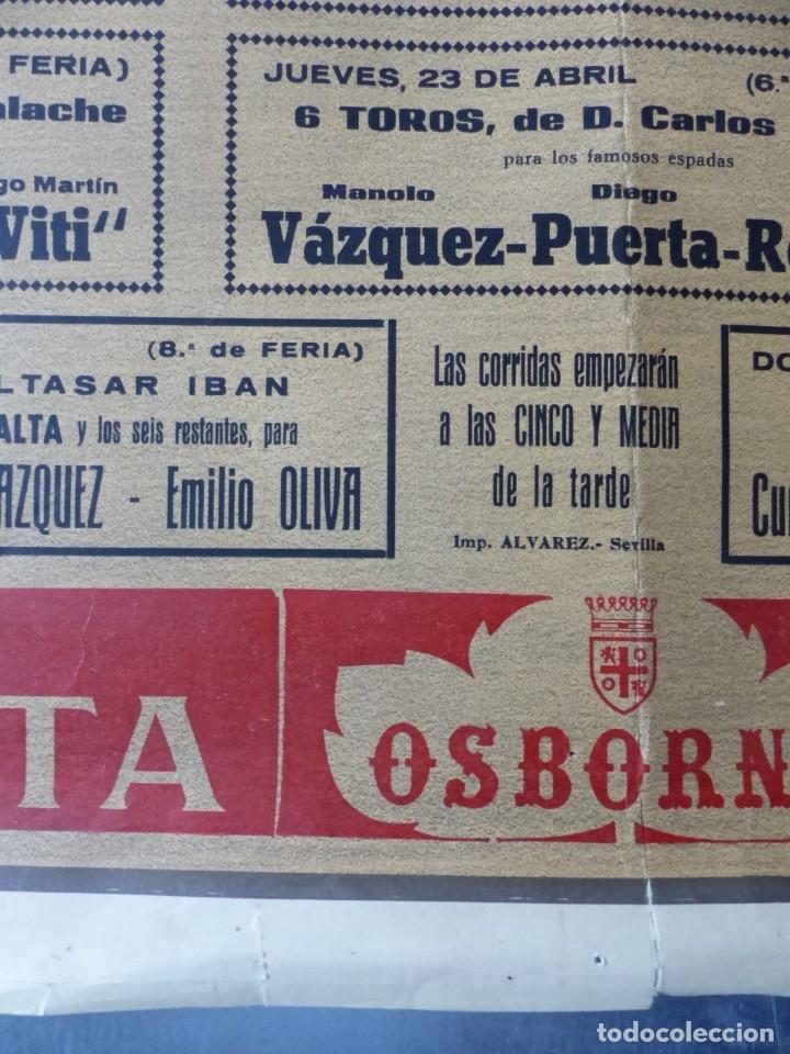 Carteles Toros: CARTEL TOROS - SEVILLA, FERIA ABRIL, AÑO 1964 - J. REUS - Foto 4 - 172220702
