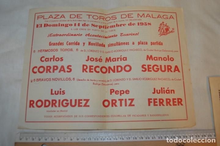 Carteles Toros: Plaza de toros de MÁLAGA - Año 1958 - Lote Carteles de toros originales y otros documentos ¡Mira! - Foto 9 - 172281634