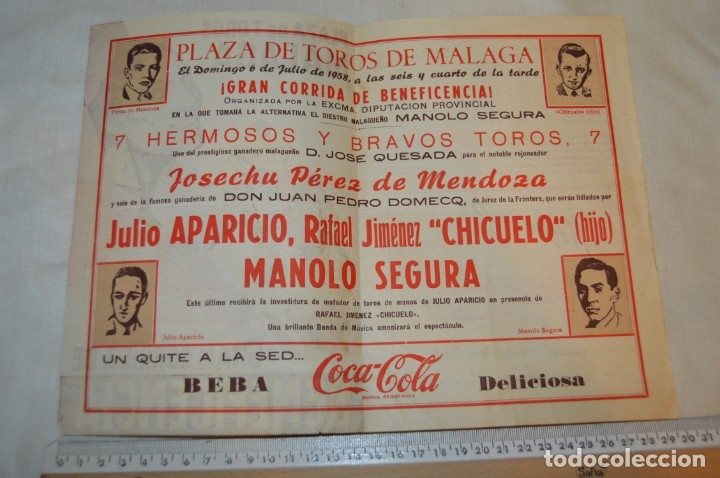 Carteles Toros: Plaza de toros de MÁLAGA - Año 1958 - Lote Carteles de toros originales y otros documentos ¡Mira! - Foto 11 - 172281634
