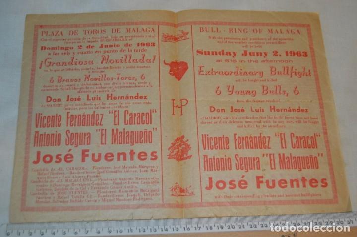 Carteles Toros: Plaza de toros de MÁLAGA - Año 1963/64 - Lote Carteles de toros originales y otros documentos ¡Mira! - Foto 7 - 172304320