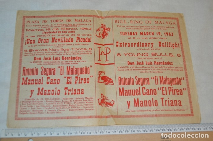 Carteles Toros: Plaza de toros de MÁLAGA - Año 1963/64 - Lote Carteles de toros originales y otros documentos ¡Mira! - Foto 9 - 172304320