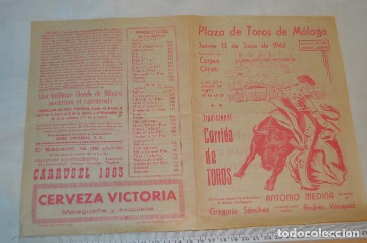 Carteles Toros: Plaza de toros de MÁLAGA - Año 1963/64 - Lote Carteles de toros originales y otros documentos ¡Mira! - Foto 14 - 172304320