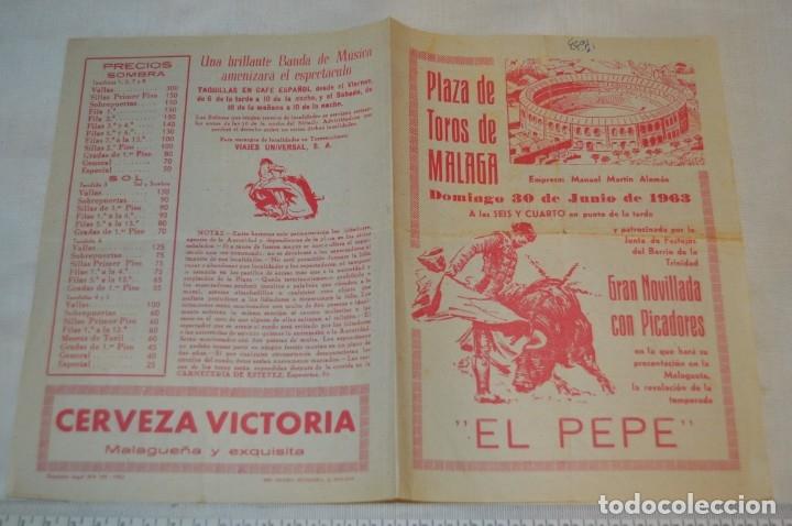 Carteles Toros: Plaza de toros de MÁLAGA - Año 1963/64 - Lote Carteles de toros originales y otros documentos ¡Mira! - Foto 24 - 172304320