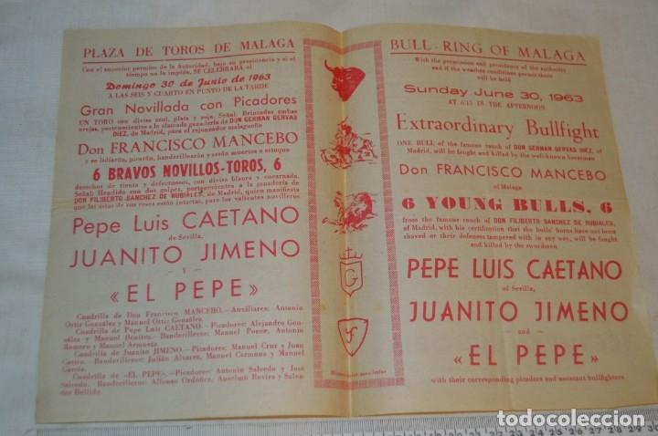 Carteles Toros: Plaza de toros de MÁLAGA - Año 1963/64 - Lote Carteles de toros originales y otros documentos ¡Mira! - Foto 25 - 172304320