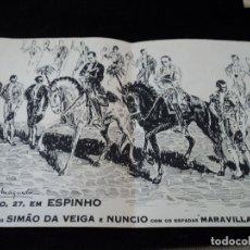 Carteles Toros: PROGRAMA TAURINO DIBUJO DE A. MARTIN MAQUEDA, SIMAO DA VEIGA E NUNCIO 24 X 16 CM. Lote 172459365