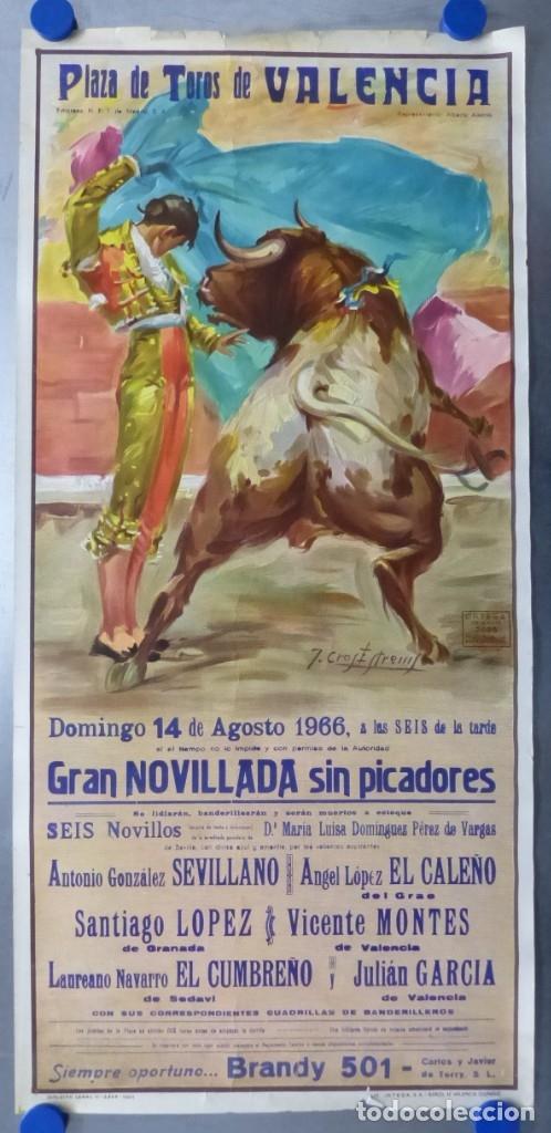 VALENCIA - CARTEL DE TOROS - LITOGRAFIA - AÑO 1966, CROS ESTREMS (Coleccionismo - Carteles Gran Formato - Carteles Toros)