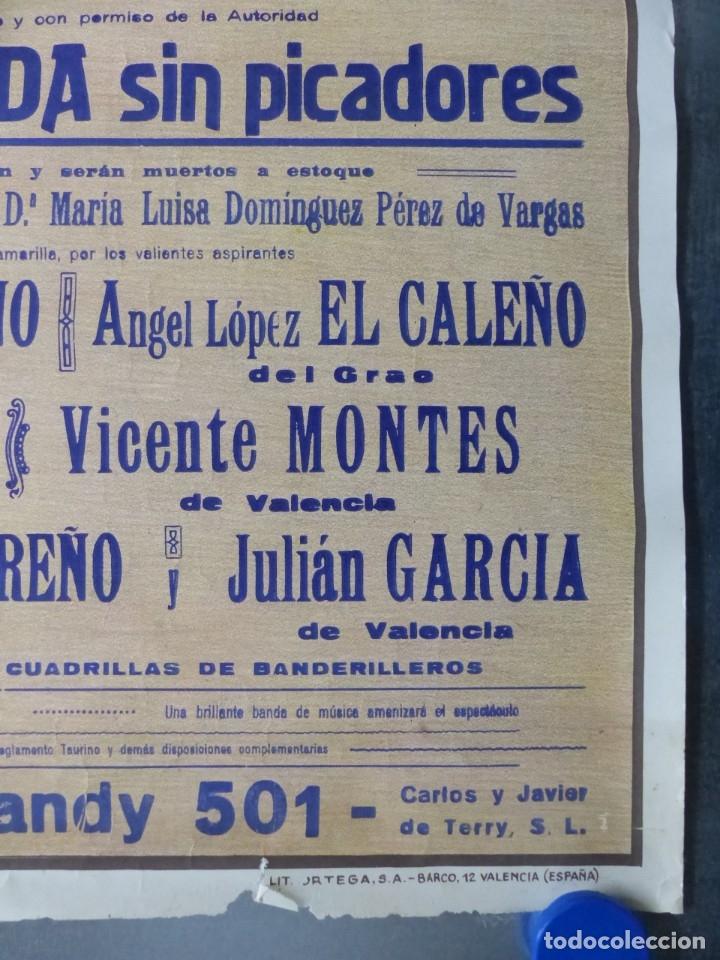 Carteles Toros: VALENCIA - CARTEL DE TOROS - LITOGRAFIA - AÑO 1966, CROS ESTREMS - Foto 2 - 172640394