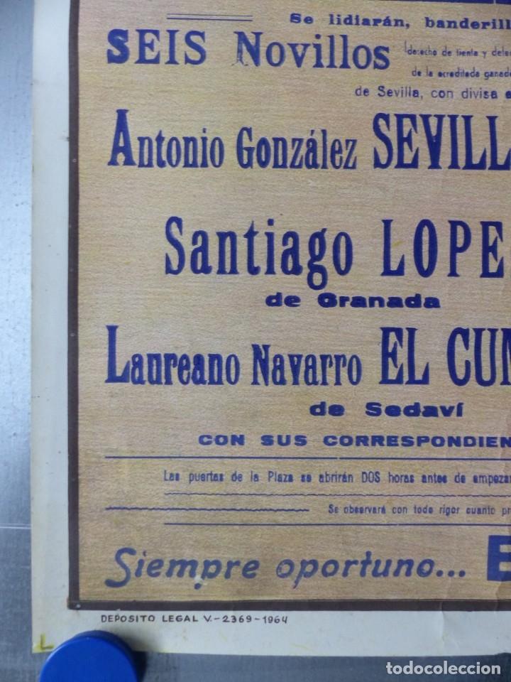 Carteles Toros: VALENCIA - CARTEL DE TOROS - LITOGRAFIA - AÑO 1966, CROS ESTREMS - Foto 3 - 172640394