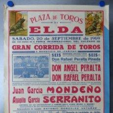 Carteles Toros: ELDA, ALICANTE - CARTEL DE TOROS - AÑO 1969, SAAVEDRA. Lote 172640562