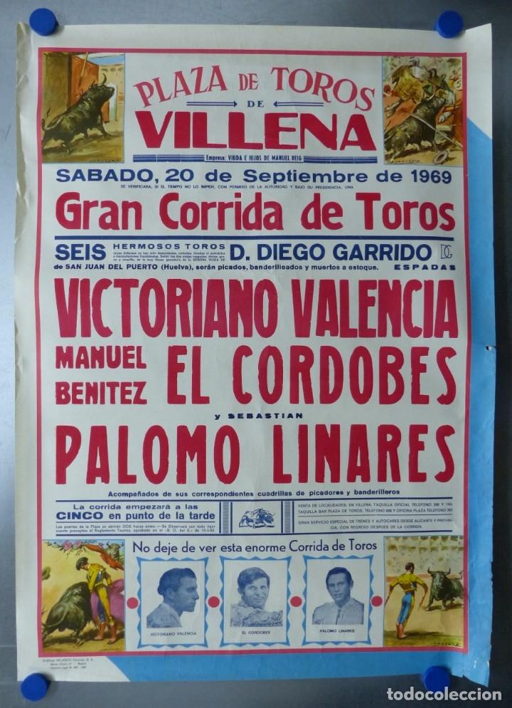 VILLENA, ALICANTE - CARTEL DE TOROS - AÑO 1969, SAAVEDRA (Coleccionismo - Carteles Gran Formato - Carteles Toros)