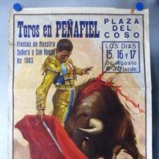 Carteles Toros: PEÑAFIEL, VALLADOLID - CARTEL DE TOROS - LITOGRAFIA - AÑO 1983, J. REUS. Lote 172641005