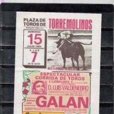 Carteles Toros: PLAZA DE TOROS DE TORREMOLINOS JULIO 1984. Lote 172981979
