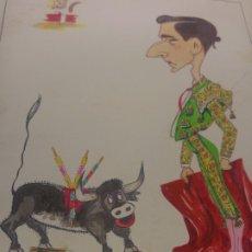 Carteles Toros: CARICATURA ORIGINAL MIGUEL BAEZ LITRI AÑOS 40. Lote 173000092