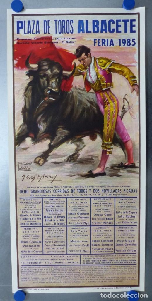 CARTEL TOROS ALBACETE - FERIA SEPTIEMBRE 1985 - CROS ESTREMS, LITOGRAFIA, EL SORO, YIYO, ESPLA (Coleccionismo - Carteles Gran Formato - Carteles Toros)