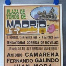 Carteles Toros: CARTEL TOROS MADRID - 13 DE MARZO DE 1983 - ALVAREZ CARMENA. Lote 173117508