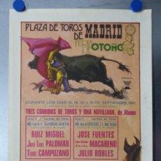 Carteles Toros: CARTEL TOROS MADRID - FERIA DE OTOÑO SEPTIEMBRE DE 1981 - CURRO ROMERO, ANTOÑETE, MANOLO VAZQUEZ. Lote 173117758