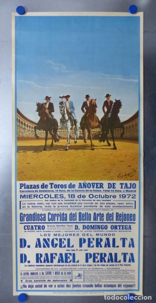 CARTEL TOROS AÑOVER DE TAJO, TOLEDO - REJONEADORES ANGEL Y RAFAEL PERALTA - AÑO 1972 (Coleccionismo - Carteles Gran Formato - Carteles Toros)
