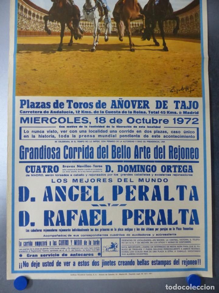 Carteles Toros: CARTEL TOROS AÑOVER DE TAJO, TOLEDO - REJONEADORES ANGEL Y RAFAEL PERALTA - AÑO 1972 - Foto 2 - 173199322