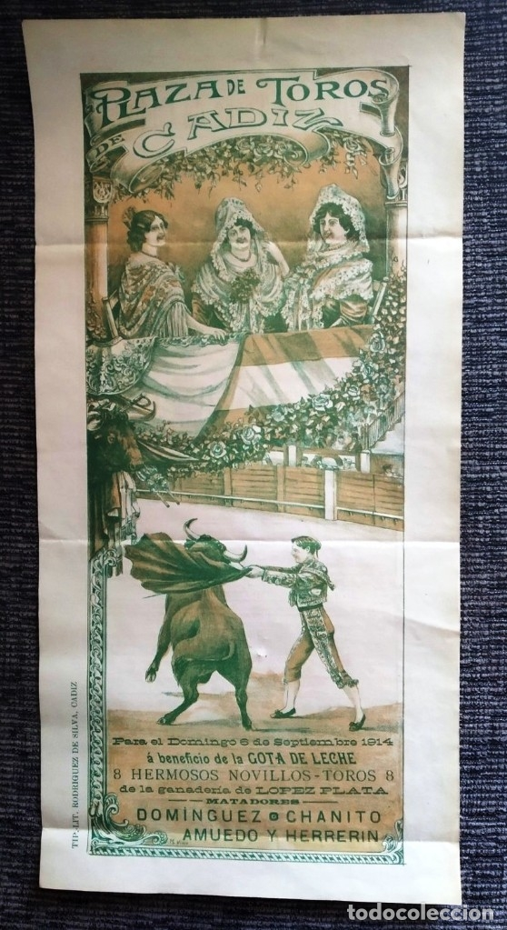 CARTEL PLAZA TOROS CÁDIZ 1914 (Coleccionismo - Carteles Gran Formato - Carteles Toros)