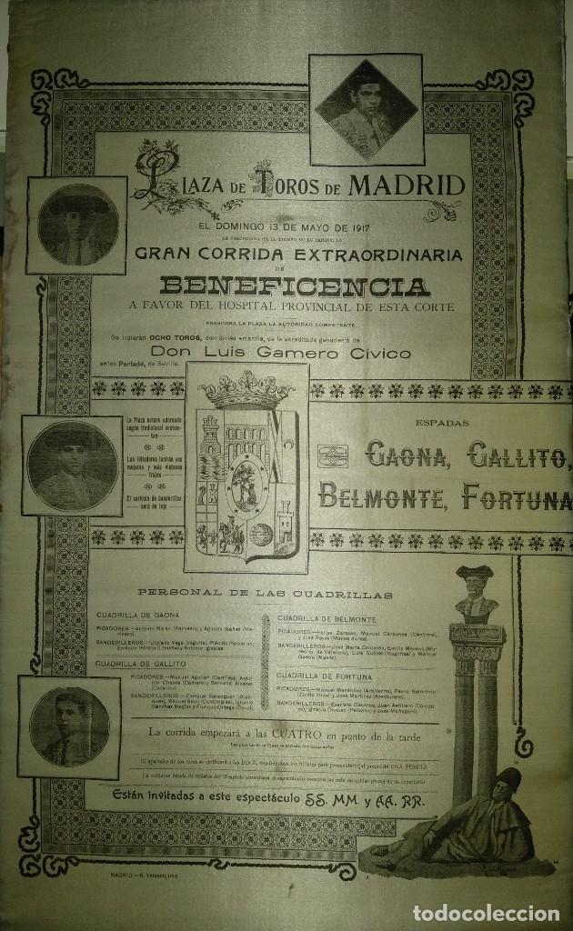 CARTEL DE BENEFICENCIA. GALLITO Y JUAN BELMONTE. 1917. MADRID (Coleccionismo - Carteles Gran Formato - Carteles Toros)