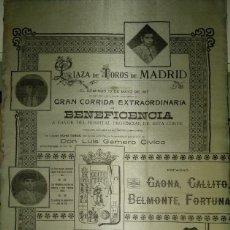 Carteles Toros: CARTEL DE BENEFICENCIA. GALLITO Y JUAN BELMONTE. 1917. MADRID. Lote 173842692