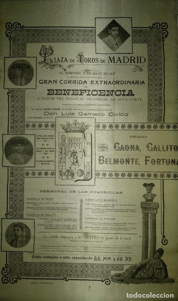 Carteles Toros: Cartel de Beneficencia. Gallito y Juan Belmonte. 1917. Madrid - Foto 4 - 173842692