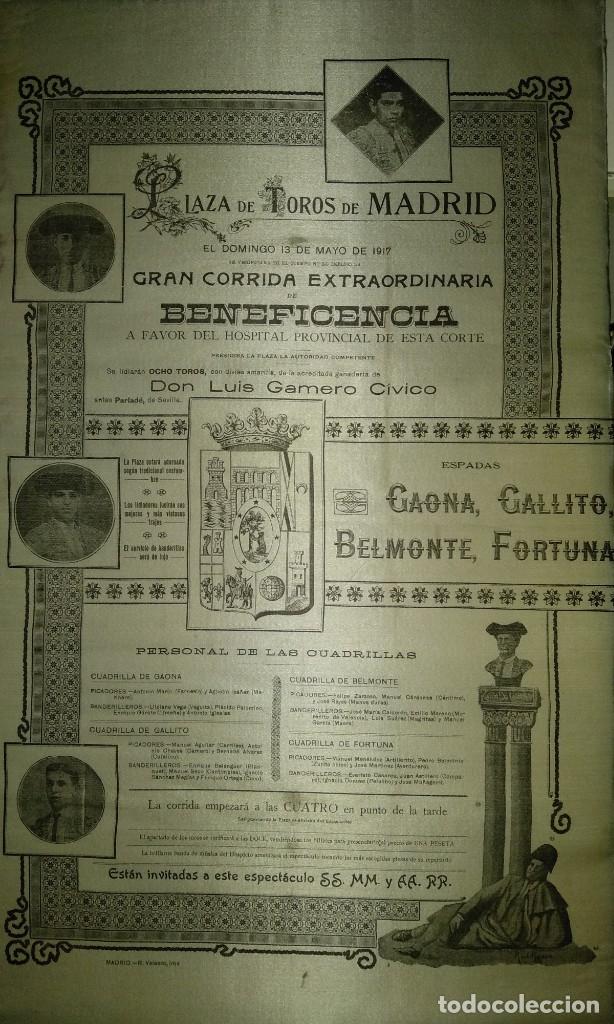 Carteles Toros: Cartel de Beneficencia. Gallito y Juan Belmonte. 1917. Madrid - Foto 5 - 173842692