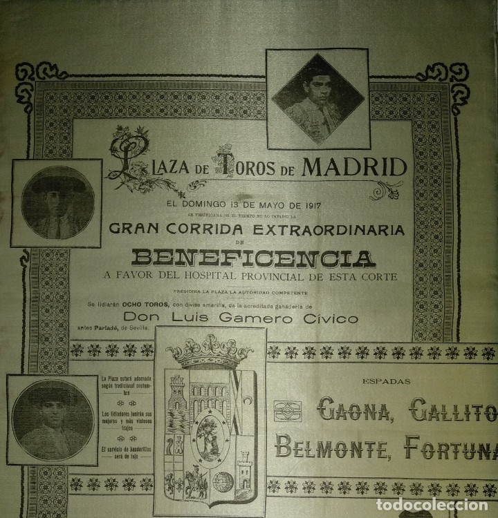 Carteles Toros: Cartel de Beneficencia. Gallito y Juan Belmonte. 1917. Madrid - Foto 11 - 173842692