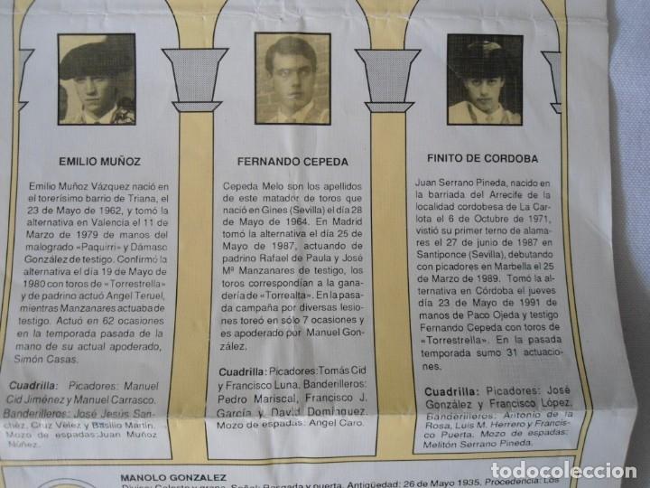 Carteles Toros: CARTEL PUBLICITARIO DE TOROS EN SEVILLA FERIA ABRIL 1992 - Foto 5 - 173846308