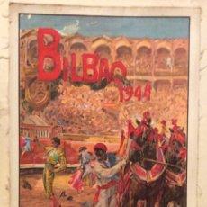 Carteles Toros: CARTEL DE TOROS EN SEDA BILBAO 1944 ILUSTRADOR ROBERTO DOMINGO,. Lote 174686069