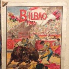 Carteles Toros: CARTEL DE TOROS EN SEDA BILBAO 1946 ILUSTRADOR ROBERTO DOMINGO,. Lote 174686682