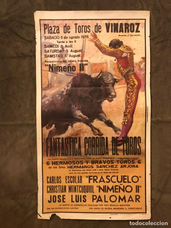 TAUROMAQUIA. CARTEL PLAZA DE TOROS DE VINAROZ. FANTÁSTICA CORRIDA DE TOROS (A.1978). (Coleccionismo - Carteles Gran Formato - Carteles Toros)