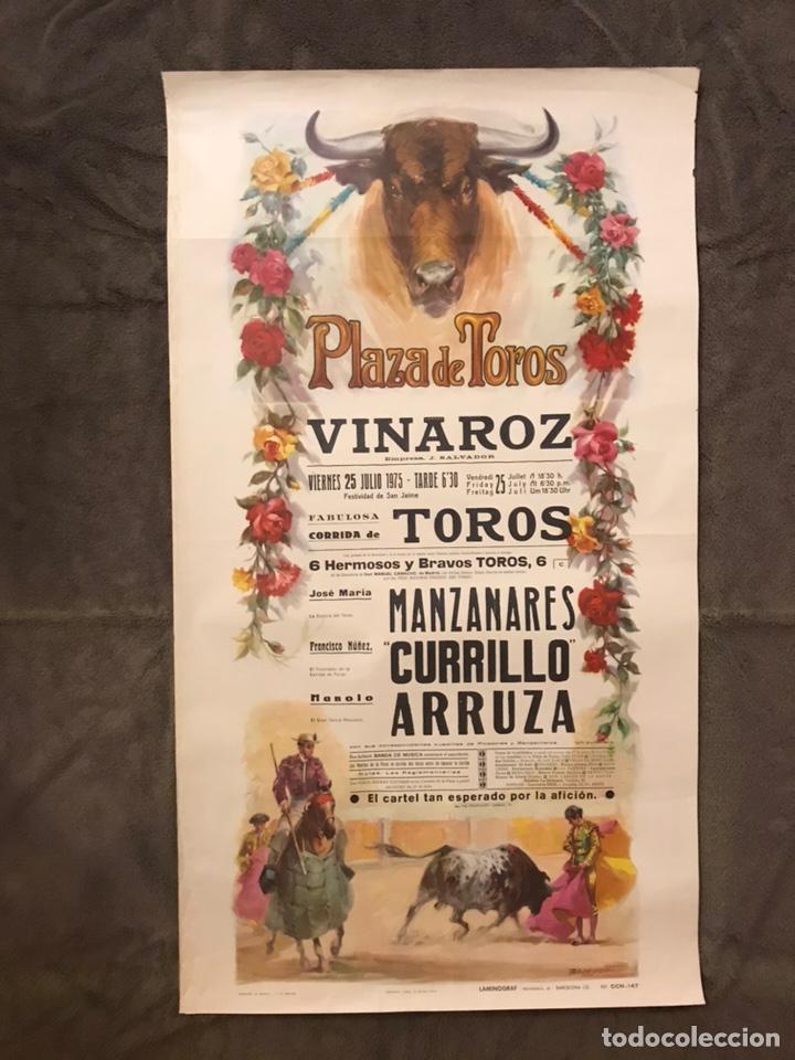 TAUROMAQUIA. CARTEL PLAZA DE TOROS DE VINAROZ. MONUMENTAL CORRIDA DE TOROS (A.1975) (Coleccionismo - Carteles Gran Formato - Carteles Toros)