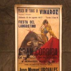 Carteles Toros: TAUROMAQUIA. CARTEL PLAZA DE TOROS DE VINAROZ. MONUMENTAL CORRIDA DE TOROS (A.1979). Lote 174990358
