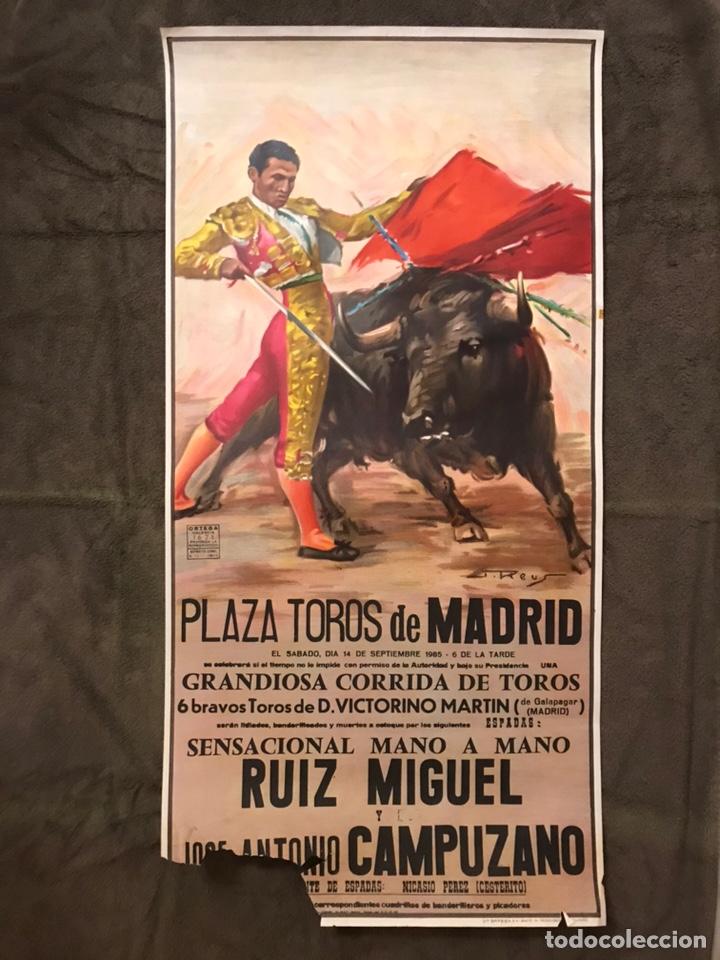 MADRID. TAUROMAQUIA. CARTEL PLAZA DE TOROS DE MADRID, GRANDIOSA CORRIDA DE TOROS (A.1985), (Coleccionismo - Carteles Gran Formato - Carteles Toros)