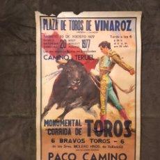 Carteles Toros: TAUROMAQUIA. CARTEL PLAZA DE TOROS DE VINAROZ. MONUMENTAL CORRIDA DE TOROS (A.1977). Lote 175047724