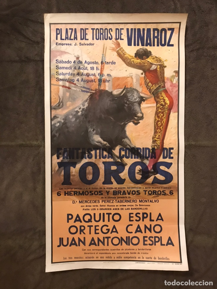 TAUROMAQUIA. CARTEL PLAZA DE TOROS DE VINAROZ. FANTÁSTICA CORRIDA DE TOROS. (H.1980?) (Coleccionismo - Carteles Gran Formato - Carteles Toros)