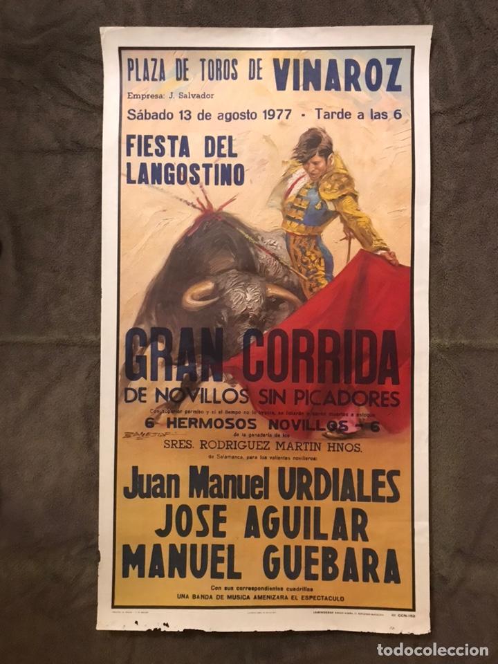 TAUROMAQUIA. CARTEL PLAZA DE TOROS DE VINAROZ. FIESTA DEL LANGOSTINO (A.1977) (Coleccionismo - Carteles Gran Formato - Carteles Toros)