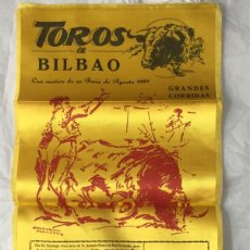 Carteles Toros: CARTEL DE TOROS BILBAO 1961 EN SEDA. Lote 175191842