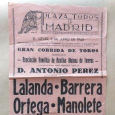 Carteles Toros: CARTEL DE TOROS PLAZA DE TOROS DE MADRID. 1940.. Lote 175225410