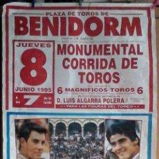 Carteles Toros: CARTEL TOROS 90X190 MIGUEL BAEZ EL LITRI, JESULÍN DE UBRIQUE, FRANCISCO RIVERA ORDOÑEZ JUNIO 1995. Lote 175611980