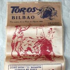 Carteles Toros: CARTEL DE TOROS DE BIOBAO 1961 EN SEDA. Lote 175665870