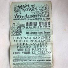 Carteles Toros: CARTEL DE TOROS PLAZA DE VISTA ALEGRE MADRID 1951. NOVILLADA. Lote 175818654