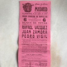 Carteles Toros: CARTEL DE TOROS PLAZA DE MADRID 1947. Lote 175818692