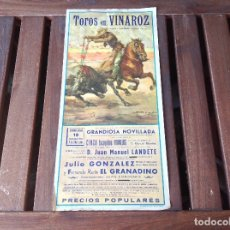 Carteles Toros: CARTEL DE TOROS EN VINAROZ - AÑO 1971 LITOGRAFIA ORTEGA S.A.. Lote 176129955