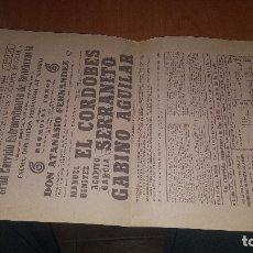 Cartazes Touros: CARTEL PLAZA TOROS MADRID, CORRIDA DE BENEFICIENCIA, 1964, EL CORDOBES, GABINO AGUILAR.. Lote 176397115
