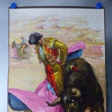 Carteles Toros: CARTEL DE TOROS - SIN IMPRIMIR - LITOGRAFIA - ILUSTRADOR: CROS ESTREMS - AÑO 1963 - 103X50 CM.. Lote 176555287